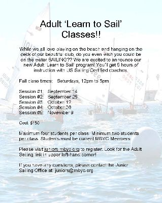 Adult Sailing Classes!